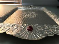 Sterling silver tray with precious stones