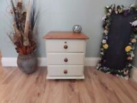 SHABBY CHIC FARMHOUSE BEDSIDE CABINET WITH LOCK
