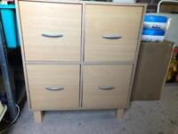 Chest of four drawers/sideboard/cupboard, beech colour, collect Hucclecote