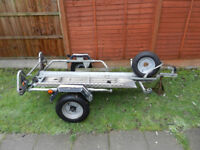 ERDE PM310 single motorbike trailer with spare wheel very good condition and ramp