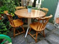 Solid Pine Circular Kitchen Table & Four Pine Chairs