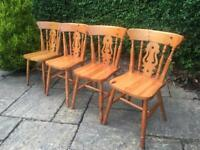 X4 Fiddleback dining chairs PINE solid wood