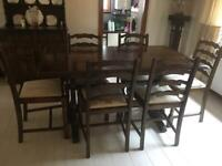 Priory dining table, 6 chairs