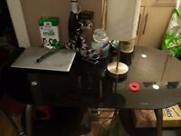Black glass table and two chairs