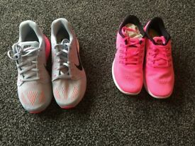 Nike Pink Free Running Trainers Size UK 5.5. Grey and Pink Trainers Lunarglide Size UK6