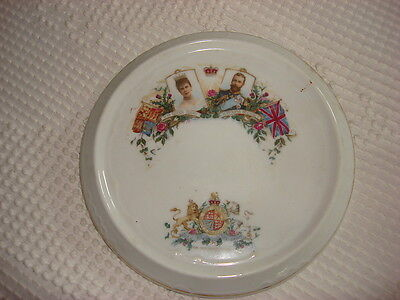 Antique Souvenir China Trivet QUEEN MARY & KING GEORGE V