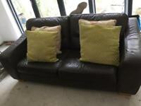 2 x 4 seater brown leather settees