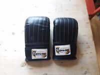 Unused boxing training mits. Black pin-stripe