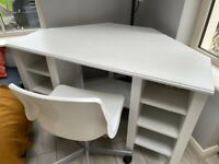 White corner desk IKEA Brusali plus chair