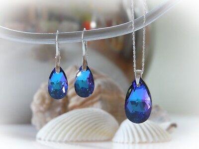 Swarovski Elements Schmuckset 4tlg. Silber 925 mit Kette, lila/türkis/blau NEU