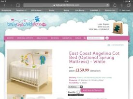 Childs White Cot & Matress