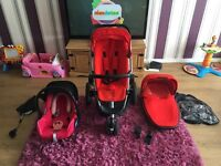 Quinny buzz pram, car seat, carry cot and extras