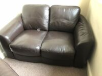 2 x brown leather sofa (2 seater and 3 seater)