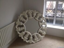 Mirror - large decorative feature mirror. Wood painted cream.
