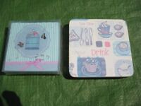 Two Sets of Square Coasters Each with Four Coasters - £2.00 each set or 2 Sets for £3.00
