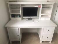 IKEA Hemnes desk and topper - white stain