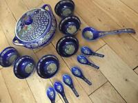 Gorgeous metallic blue soup set!