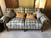 Large 3 Seater Sofa - Medium Oak Legs, Natural Tartan Seat Cushions.