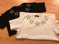 Givenchy Star Printed T shirts front and back stars outline, not gucci, Prada, LV Hermes