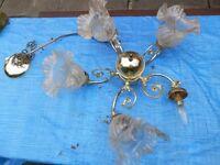 Vintage Style 5 Armed Brass Finish Chandelier