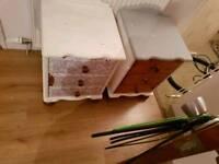 Pine chest of drawers, 2 bedside tables & Ikea chest of drawers