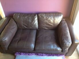AHF Brown leather large two seater sofa