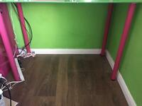 IKEA glass green and pink desk