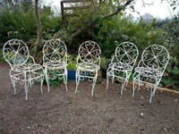 Set of 5 Antique French Wrought Iron Garden Chairs