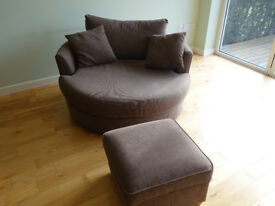 Next Snuggle Swivel Chair Large and footstool/pouffe light Brown