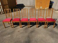 6 IKEA Borje & Red Fabric Seat Chairs FREE DELIVERY 4056
