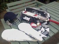 Junior Cricket Set, Pads, Helmet, Bat, Ball, Gloves and Bag