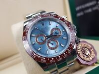 New boxed with papers silver bracelet blue dial with markers Rolex Daytona 50th anniversary watch