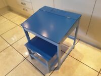 Childrens desk and stool in blue. Preloved.
