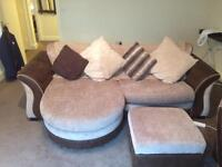 Brown Fabric and Suade Sofa and Pouffe