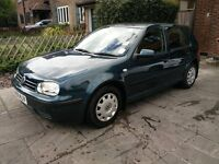 VW Golf MK4 2001 1.6 S 16V Green, Manual, Petrol, Genuine Low Milage, 1 owner from new