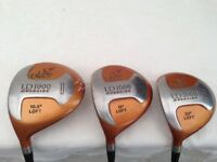 GOLF CLUBS - WOODS DRIVER (1 WOOD) 3 WOOD AND 5 WOOD - Left Hand - USED but VGC