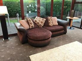 Dfs Reversible Corner Sofa Fabric + Brown Suede Immaculate Condition Delivery Possible