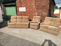 3 piece beige suite and electric chair