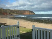 static caravan for sale in Scotland. Berwickshire. Sea view pitch. Front row. Only £597 per month.