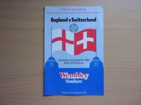 ENGLAND VS. SWITZERLAND. 1980 SCHOOLS INTERNATIONAL FOOTBALL PROGRAMME.