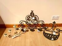 Job Lot x 3 Of Antique Bronze Gold Style Heavy Metal Candle Holders All New & Mint With Tags