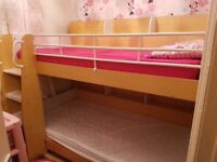 Kids wooden bunkbed for sale with 2 mattresses