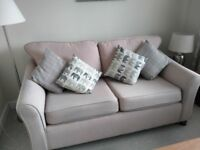 Light Beige Colour 2 Seater Fabric Sofa. Very Good Condition. Newly Cleaned