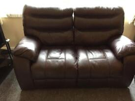 Dark brown reclining leather 2 seater Sofa