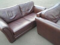 2 BROWN LEATHERETTE SOFAS at Haven Trust's charity shop at 247 Radford Road, NG7 5GU