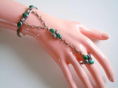 Silver Slaves Bracelet with Ring & Malachite 0.7oz/Gr.58