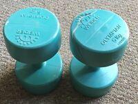 x2 5kg green dumbells