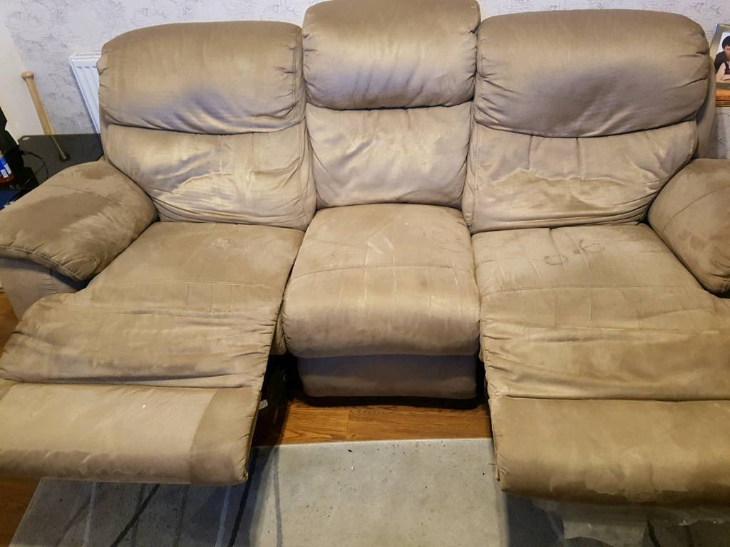 suede recliner couches 3 and 2 great condition