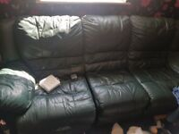 Leather recliner 3 seat sofa