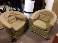Pair of Brown Fabric Tub Chairs